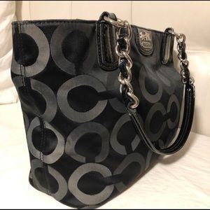 COACH Signature Black & Grey Handbag